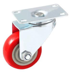 3 inch Red PU Swivel Caster No Brake