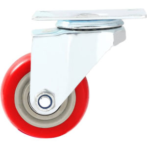 3 inch Red PU Swivel Caster No Brake