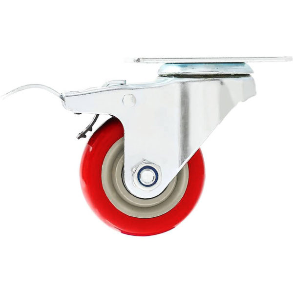 3 inch Red PU Swivel Caster With Brake