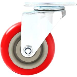 4 inch Red PU Swivel Caster No Brake