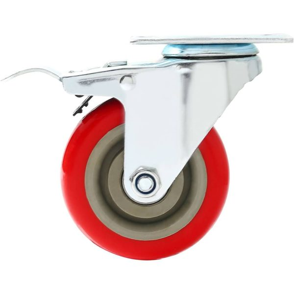 4 inch Red PU Swivel Caster With Brake