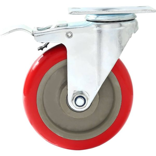 5 inch Red PU Swivel Caster With Brake
