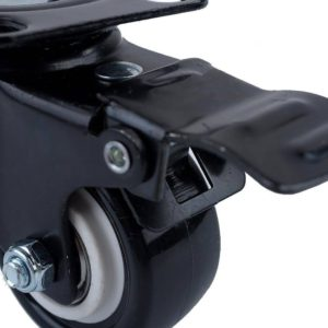 1.5 inch All Black PU Swivel Caster With Brake