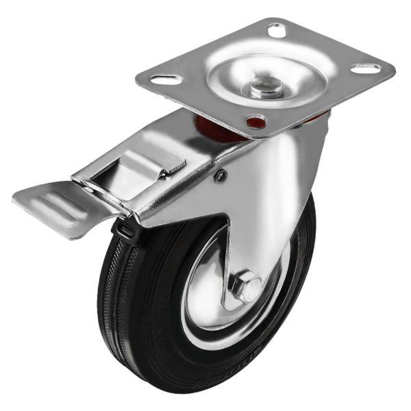 5 Inch Rubber Swivel Caster Wheel With Brake