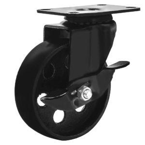 4 Inch All Black Metal Swivel Wheel With Brake