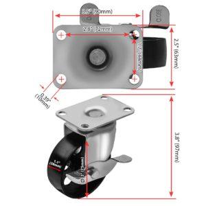 3 inch Metal Swivel Caster (Black Wheel) With Brake