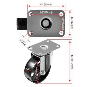 3.5 inch Metal Swivel Caster (Black Wheel) No Brake