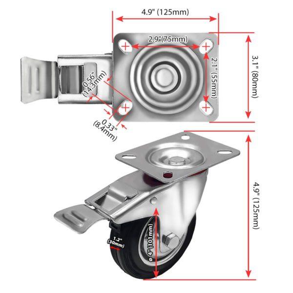 4 Inch Rubber Swivel Caster Wheel With Brake