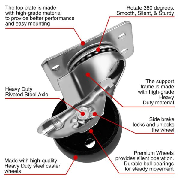 2 Inch All Grey Metal Swivel Wheel With Brake