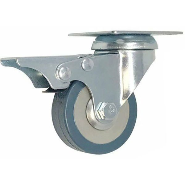3 Inch Grey Rubber Swivel Wheel Caster With Brake