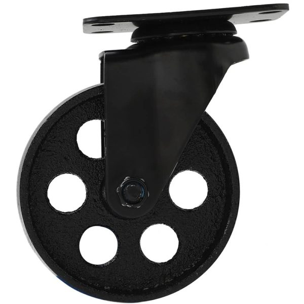 4 Inch All Black Metal Swivel Wheel With Brake