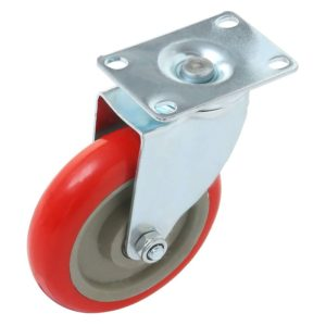 5 inch Red PU Swivel Caster No Brake
