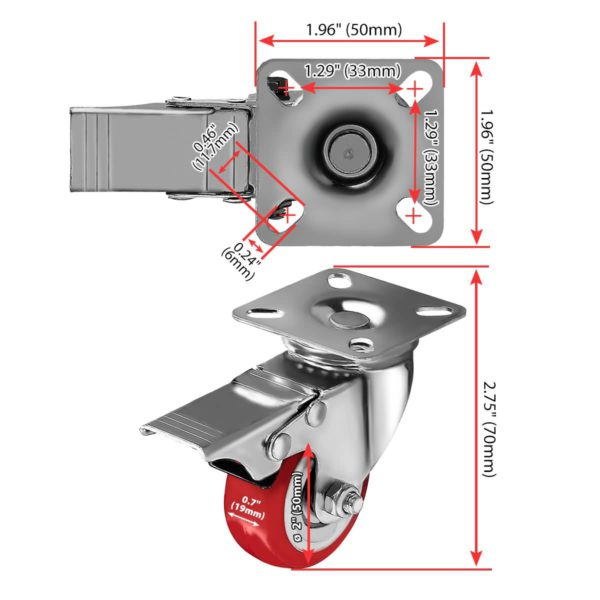 2 inch Red PU Swivel Caster With Brake
