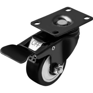 2.5 inch All Black PU Swivel Caster With Brake