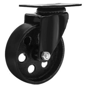 4 Inch All Black Metal Swivel Wheel No Brake
