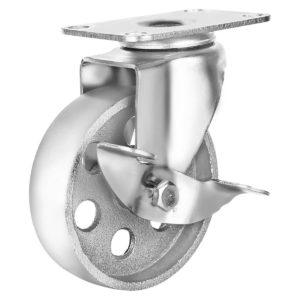 4 Inch All Grey Metal Swivel Wheel With Brake