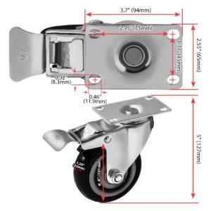 4 inch Black PU Swivel Caster With Brake