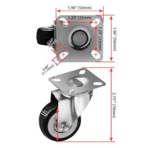2 inch Black PU Swivel Caster No Brake