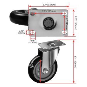 5 inch Black PU Swivel Caster No Brake