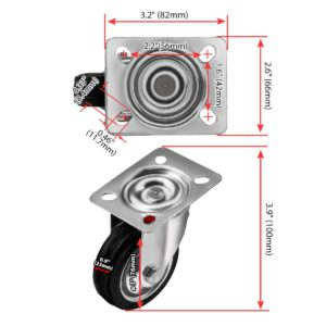 3 Inch Rubber Base Swivel Caster Wheels No Brake
