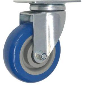 5 inch Blue PU Swivel Caster No Brake