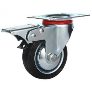 3 Inch Rubber Base Swivel Caster Wheels With Brake