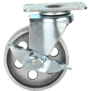 4 Inch All Grey Metal Swivel Wheel With Brake