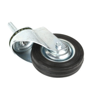 "4 Inch Hard Rubber 1-3/4"" Tall Threaded Stem Swivel Caster No Brake"