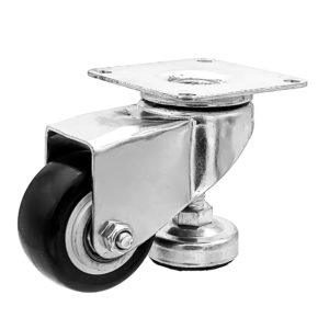 2 Inch Leveling Caster Wheels - Swivel Black Polyurethane Wheels with Adjustable Leveling Foot