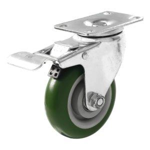 4 inch Green PU Swivel Caster With Brake