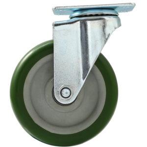 5 inch Green PU Swivel Caster No Brake