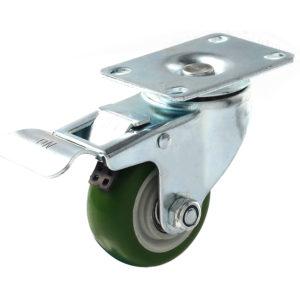 3 inch Green PU Swivel Caster With Brake