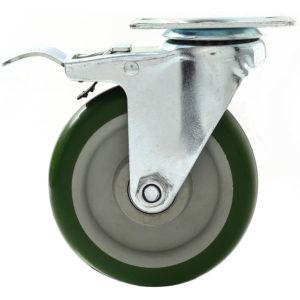 5 inch Green PU Swivel Caster With Brake