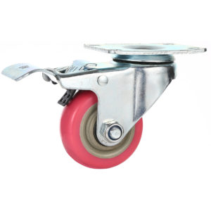 3 inch Pink PU Swivel Caster With Brake