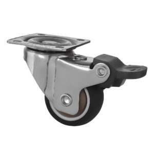 1.5 Inch Black Rubber Swivel Caster Wheel With Brake