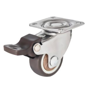 1.25 Inch Brown Rubber Swivel Caster Wheel With Brake