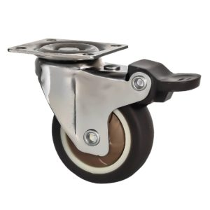 2 Inch Brown Rubber Swivel Caster Wheel With Brake
