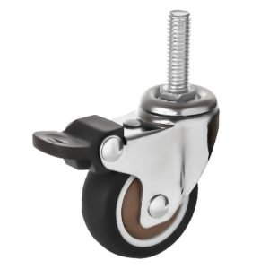2 Inch Hard Rubber 1.1″ Tall Threaded Stem Swivel Caster With Brake