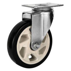 5 inch Black PU Rim Swivel Caster No Brake