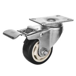 3 inch Black PU Rim Swivel Caster With Brake