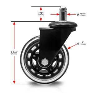 3 Inch Black Plastic Swivel Chair Caster Wheel No Brake