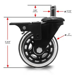 3 Inch Black PU Swivel Chair Caster Wheel With Brake