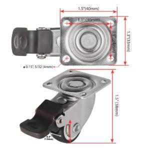 1 Inch Grey Rubber Swivel Caster Wheel With Brake