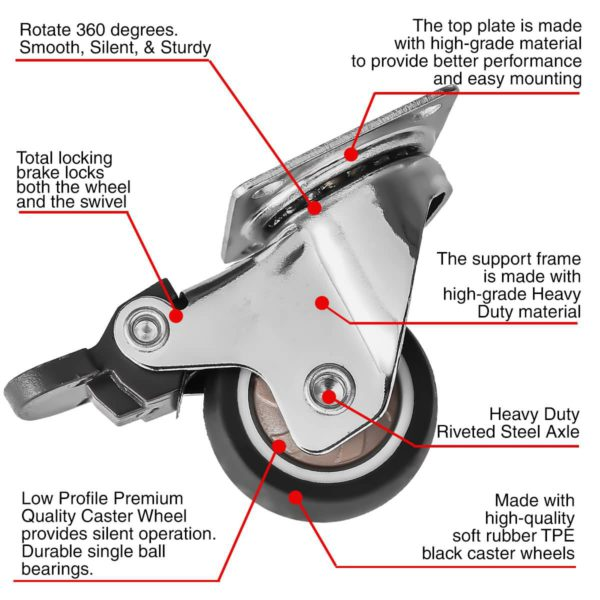 1.5 Inch Black Rubber Swivel Caster Wheel With Brake