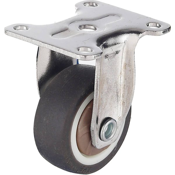 1.25 Inch Brown Rubber Swivel Caster Wheel Rigid