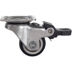 1 Inch Black Rubber Swivel Caster Wheel With Brake