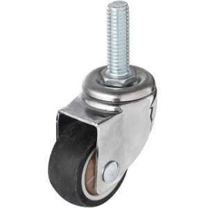 1 Inch Hard Rubber 1.1″ Tall Threaded Stem Swivel Caster With Brake