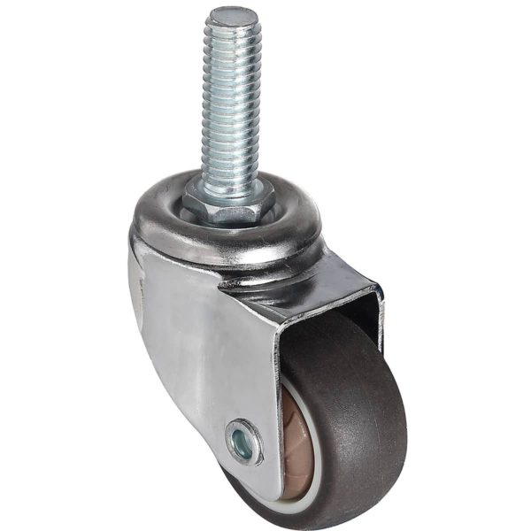 1.25 Inch Brown Hard Rubber 1.1″ Tall Threaded Stem Swivel Caster No Brake