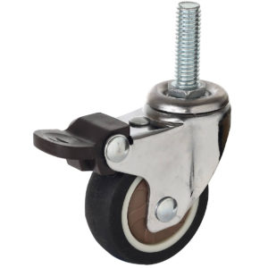 1.5 Inch Hard Rubber 1.1″ Tall Threaded Stem Swivel Caster With Brake