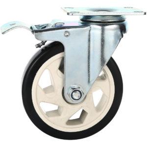 5 inch Black PU Rim Swivel Caster With Brake